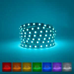 Indoor RGBCW LED Strip on a blue background with available colours displayed underneath