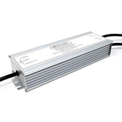 brushed metal 300w 24v led driver on white background