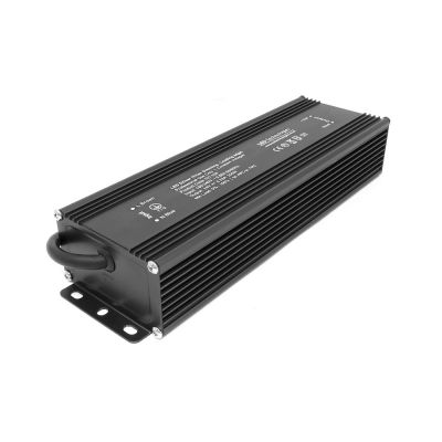 Matte Black 200W 24V Dimmable LED Driver on white background