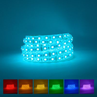 Outdoor RGB LED Strip on a blue background with available colours displayed underneath