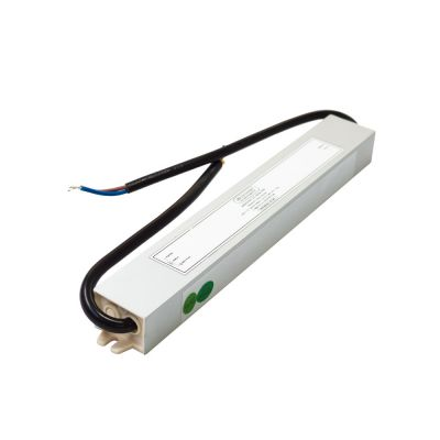 Brushed Metal 30W 12V LED driver on white background