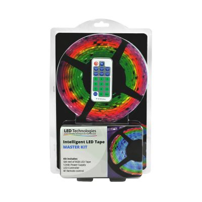 PIxel Addressable RGB LED Strip in blister packaging on white background