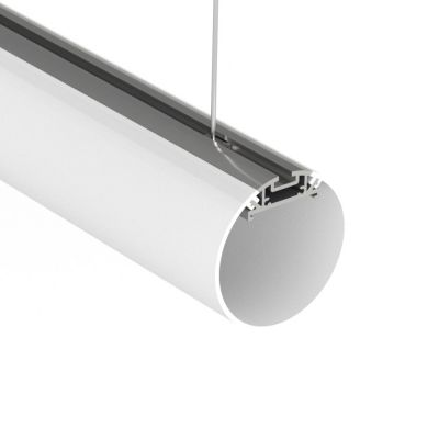 Suspended tube LED profile with clip in diffuser and hanging clips