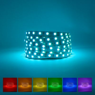 Professional RGB LED Strip on blue background with available colours displayed underneath
