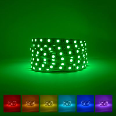 Lifestyle excellence 24V IP20 Colour changing RGB LED strip on green background