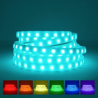 RGB LED Strip with diffuser on blue background with available colours displayed underneath