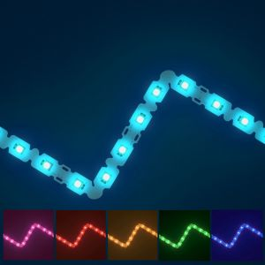 Bendable RGB LED strip on blue background with available colours displayed underneath