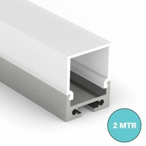 Batten Aluminium LED profile with clip in diffuser on white background
