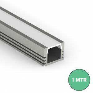 Deep section led profile with slide in diffuser on white background
