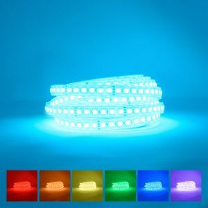 Waterproof Ip68 RGB LED strip coiled on blue background with available colours display underneath