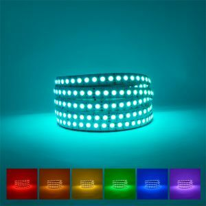 RGB LED Strip for production coiled on blue background with available colours displayed underneath