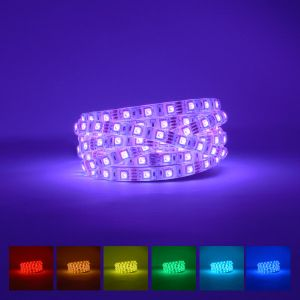 Splashproof 24V Rgb led strip with available colours on purple background