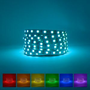 Lifestyle excellence 12V Ip20 rgb led strip on blue background with the available colour displayed underneath